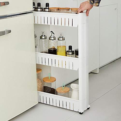 MorNon 3 Schichten Küchenregal 72 x 12,6 x 54,3 cm Regal Wagen Wagenregal mit Rädern Küchenregal Gewürzregal