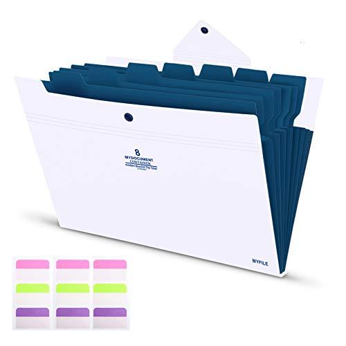 Carpeta Clasificadora Archivador A4 de Acordeón Carpetas Plastico 8 Bolsillos de gran Capacidad Extensible Portátil Organizador Documentos cubierta blanca