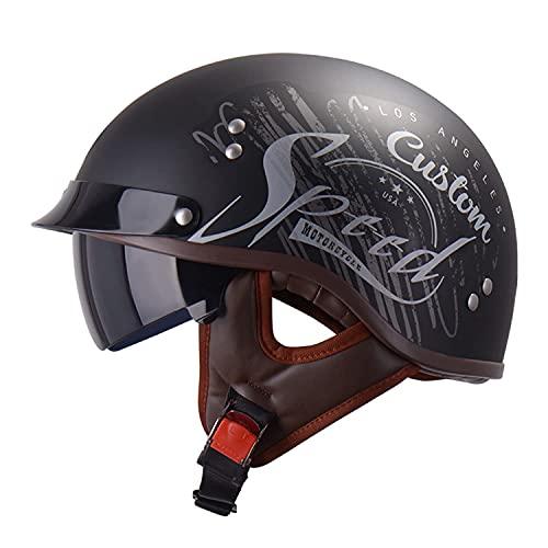 ACEMIC Casco de motocicleta de cara abierta con visera para jóvenes, hombres y mujeres, adultos, certificación DOT/ECE, casco de motocicleta de cara abierta de material ABS, L