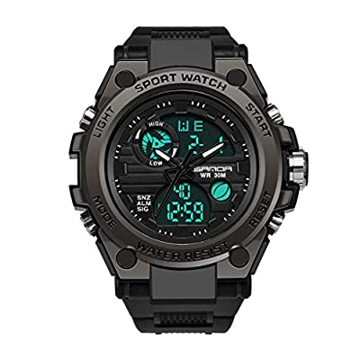 XBKPLO Men's Digital Sports Watch Quartz LED Screen Military Watches Large Face Waterproof Luminous Mechanical Alarm Casual Simple Army Outdoor Watch