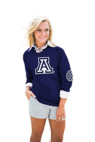 Gameday Couture NCAA Arizona Wildcats Womens Puff Print Elbow Patch Long Sleeve Alternate, XX-Large, Navy