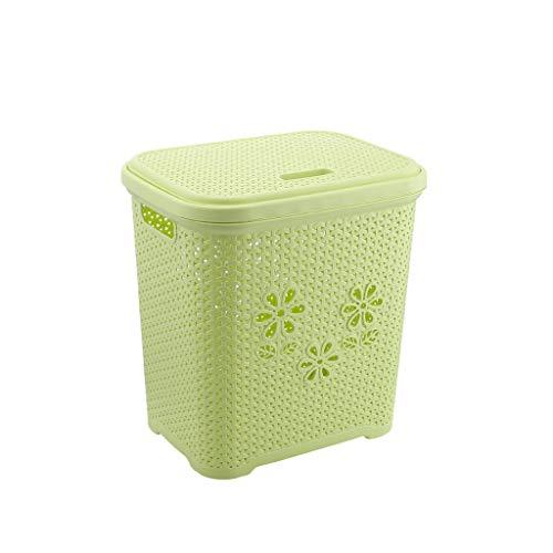 Paniers à linge en plastique rectangulaires, paniers à linge, bacs à linge avec couvercle (Color : Green, Taille : Small)