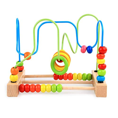 FENGLI Bead Maze Wooden Toys, Toddlers Bead Maze Roller Coaster Animal Circle Toys Educational Abacus Beads Game for Boys Girls Baby Gift