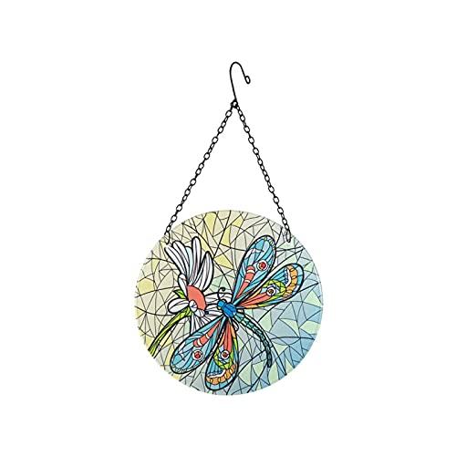 Viitech Dragonfly Glass Suncatcher Hanging Ornament Hanging Decorations Window Hangings, Easy Hanging Anti-Fading Colorful, Dragonfly Hanging Ornament for Home Garden Window Door