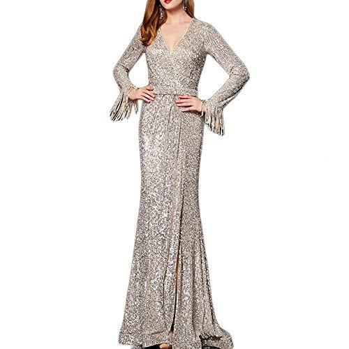 Maxikleider mit langen Fransen, V-Ausschnitt, Abendkleid, formelle Hochzeits-Outfit, silberfarben, Größe M