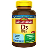 Nature Made Vitamin D3, 300 Softgels, Vitamin D 1000 IU (25 mcg) Helps Support Immune Health, Strong Bones and Teeth, & Muscle Function, 125% of the Daily Value for Vitamin D in One Daily Softgel