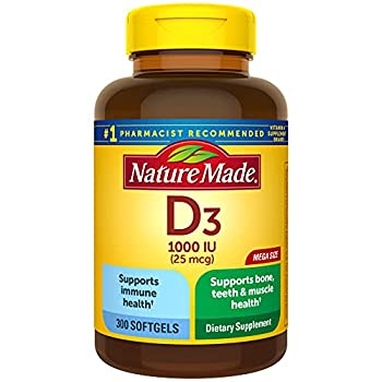 Nature Made Vitamin D3 300 Softgels Vitamin D 1000 IU  25 mcg  Helps Support Immune Health Strong Bones and Teeth & Muscle Function 125% of the Daily Value for Vitamin D in One Daily Softgel