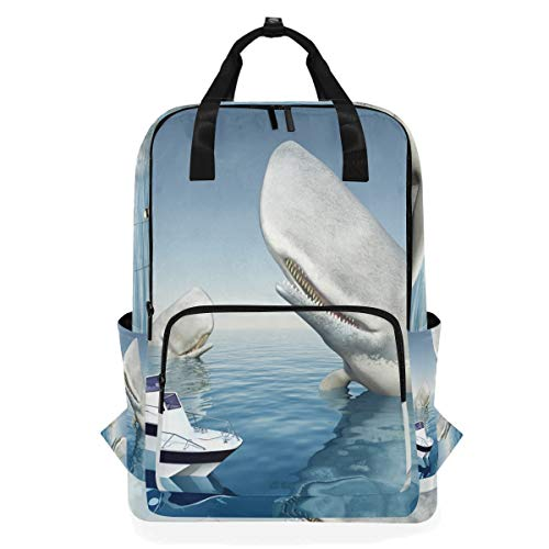 Laptop Stilvolle Computer Schule Rucksack Casual Tragbare Tasche für Frauen Männer Seeschiffe Motorboot Whale