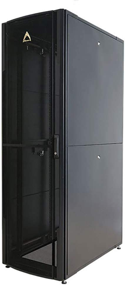 Arion, Premium Server Rack, 42U 600x1000 mm, UL Listed, 3,000 lbs Load Capacity, Curved Front and Split Rear Perforated Doors, Adjustable mounting Rails, casters, Ships Flat Packed.