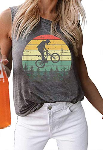 EGELEXY Vintage Graphic Print Mountain Bike Tank Tops for Womens Summer Casual Sleeveless T Shirt Vacation Vest Tops Size M (Gray)