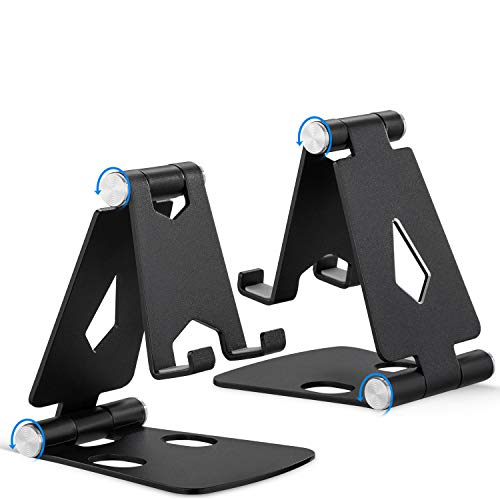 Foldable Phone Stand 2 Pack, Angle Height Adjustable Cell Phone Desk Holder, Portable Metal Aluminum, Mobile Phone Holder Cradle Dock with Non-Slip Base for iPhone, All Android Smartphone- Black