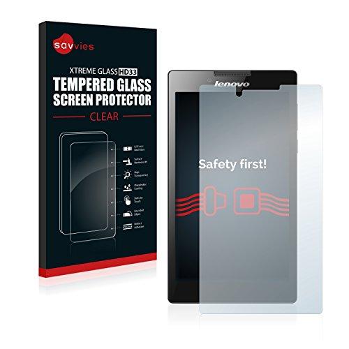 Savvies Panzerglas kompatibel mit Lenovo Tab2 A7-30H (Kamera Links) - Echt-Glas, 9H Härte, Anti-Fingerprint
