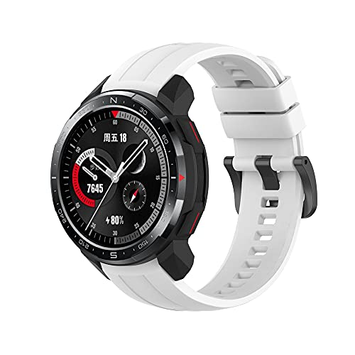 Compatible with HONOR Watch GS Pro Bands, Silicone Watchband Replacement Accessories for HONOR Watch GS Pro GPS Multisport Smartwatch (White)