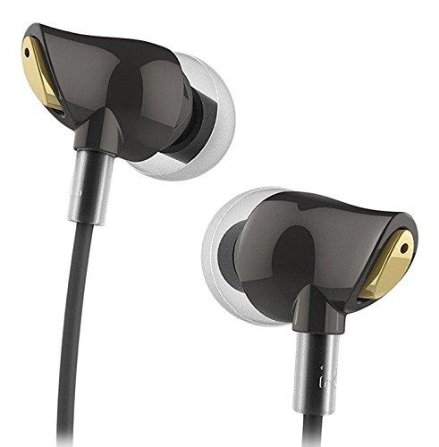 Rock circón Auriculares estéreo RAU0501 con micrófono y Remoto para el iPad, iPhone 6 más / 6 / 5s / 5/4, Samsung (Negro)