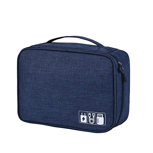 Electronic Organizer Travel Universal Cable Organizer Cable Cord Bag Electronics Accessories Cases Storage Bag Waterproof for Cable, Charger, Phone, USB, SD Card, Power Bank (Navy)
