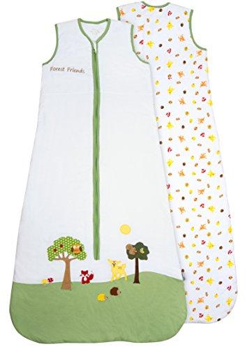 Schlummersack Kinder Sommerschlafsack 1 Tog 130cm/3-6 Jahre - Waldtiere, Mehrfarbig