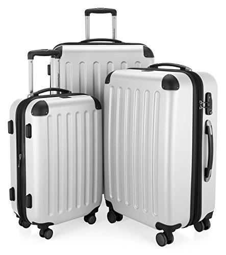 HAUPTSTADTKOFFER - Spree - 3er Koffer-Set Trolley-Set Rollkoffer Reisekoffer Erweiterbar, TSA, 4 Rollen, (S, M & L), Weiß