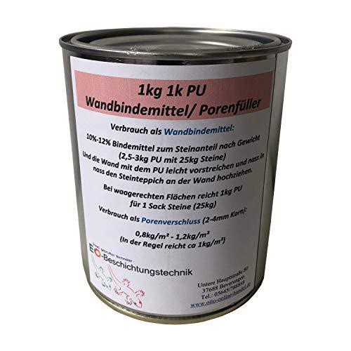 1K PU Steinteppich Wand Bindemittel Sockel Treppe Boden Versiegelung Betonversiegelung Bodenversiegelung flexibel (1kg, Farblos)