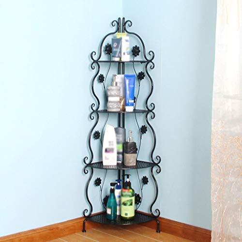 Badezimmer-Regal, freistehend, 4 Etagen, offenes Regal, freistehendes Metall-Eckregal für Küche, Wohnzimmer, Flur, Kzwjiissx (Farbe: schwarz)