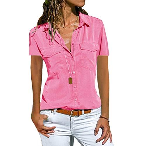 Damen Bluse Langarm Revers Kragen Hemdbluse V Ausschnitt Langarmshirts Blusen Einfarbig Business mit Knopfleiste Hemd Oberteile Elegant Herbst und Mode Sommer T-Shirt Top (3XL, PK2)