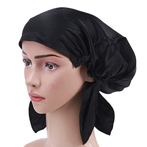 Frcolor Sombrero de gorro de dormir de seda de morera sombrero de capo de pelo de noche de pelo largo para mujeres niñas (Negro)