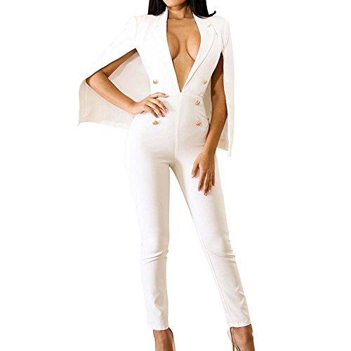 QuneusHot Damen Poncho mit tiefem V-Ausschnitt, dünn, doppelreihig, taillierter Blazer, Jumpsuit, Hose, Anzug Übergröße - weiß - XX-Large