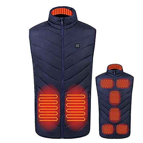 Chaleco calefactable Chaleco con calefacción de plumón eléctrico, carga USB Chaleco con calefacción cálida Chaqueta Ropa con calefacción lavable con temperatura ajustable para hombres Camping Senderis