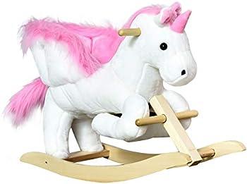 Qaba Kids Wooden Plush Ride-On Unicorn Rocking Horse Chair Toy