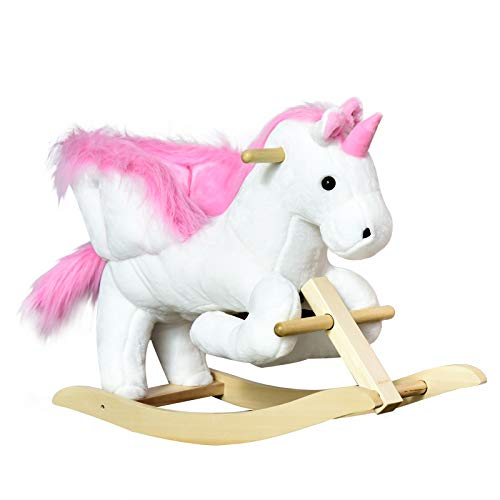 HOMCOM Kids Wooden Plush Ride On Unicorn Rocking Horse Chair Toy with music