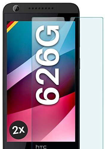 moex Panzerglas kompatibel mit HTC Desire 626G - Schutzfolie aus Glas, bruchsichere Bildschirmschutz Folie, Crystal Clear Panzerglasfolie, 2X Stück