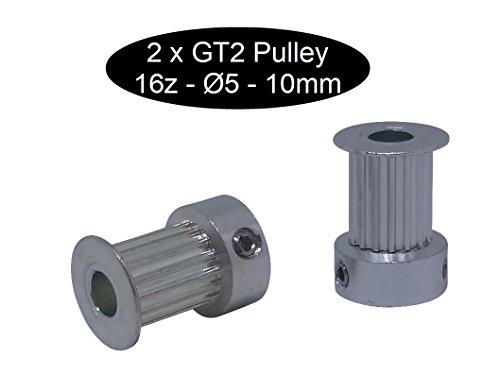 2 X GT2 mit 10mm Breite 16 Zahn Riemenscheibe Pulley (GT2 16Z Ø5mm)