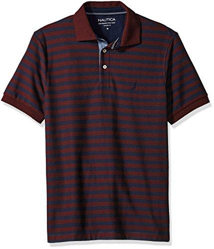 Nautica Men's Standard Classic Short Sleeve Stripe Polo Shirt, Royal Burgundy, X-Large