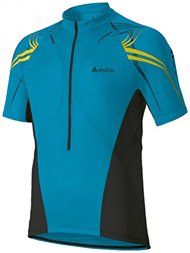 Odlo Herren Teamtrikot Radsport Stand-Up Collar Short Sleeve 1/2 Zip Sign X Trikots & Teamtrikots, Dresden Blue - Black - Lime Punch, S