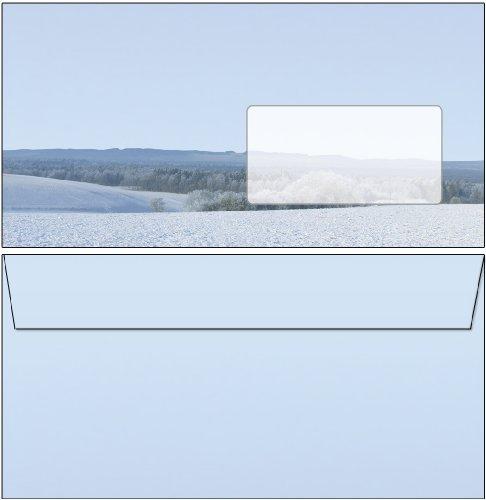 20 Briefumschläge Winter - schöne Winterlandschaft Ried DIN lang ohne Fenster 6471