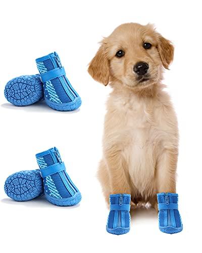 Dociote Botas para perros pequeños de malla suave antideslizantes protector de patas con correas reflectantes transpirables con cremallera para perros pequeños medianos 4 unidades color azul
