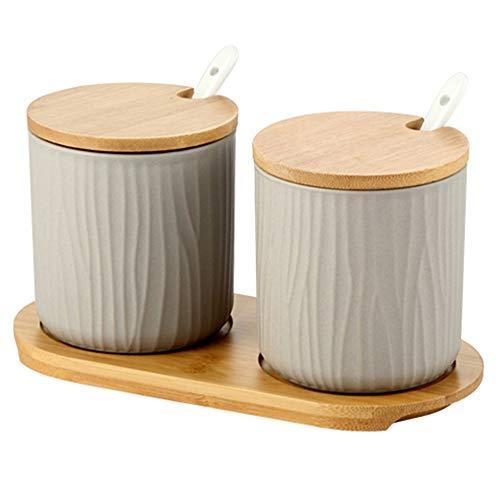 OnePine Juego de 2 Azucarero, azucarero de cerámica azúcar Pot con Tapa de bambú y Cuchara, Cocina