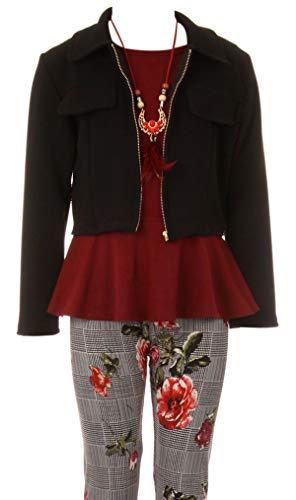 Big Girl Jackets Necklace Shirt Tank Pant Legging Girls 4 Pieces Clothing Set Burgundy 12 (21JK41S)