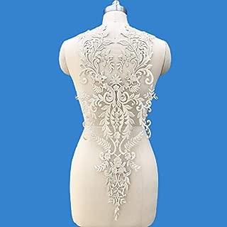 1 Pcs Lace Fabric Cotton Embroidered Applique DIY High-end Wedding Dress Accessories Handmade(Platinum)