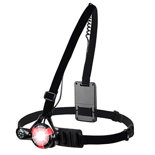 WESTGIRL luz de correr, 90° ajustable haz luz de advertencia de seguridad LED, recargable por USB, resistente al agua, luz de pecho para correr, senderismo, pasear al perro, camping, escalada
