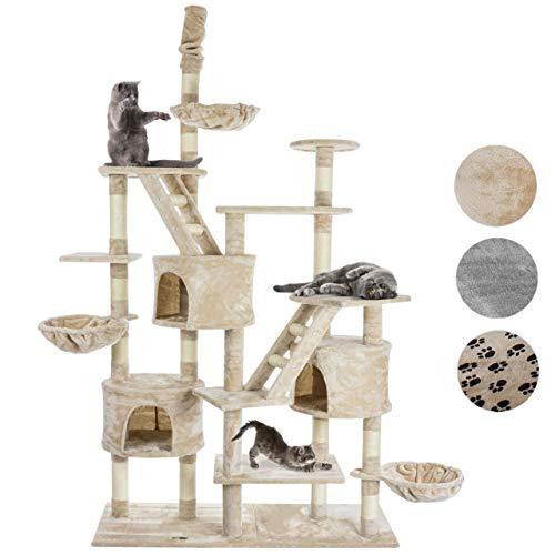 Happypet® Kratzbaum für Katzen deckenhoch höhenverstellbar 230-260cm cm hoch, CAT013-3 großer Kletterbaum Katzenbaum, stabile Säulen mit Sisal ca. 8cm, Häuser, Liegemulden, Treppen, BEIGE