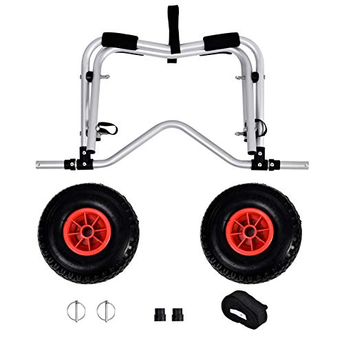 canoe dolly Kayak Cart Dolly Wheels Trolley Kayaking Accessories for Beach Tires Transport Canoe Fishing Jon Boat Carrier Caddy Scupper Carts Trolly Roller Sit on Top Kayaks Wagon Wheel Hauler Tote