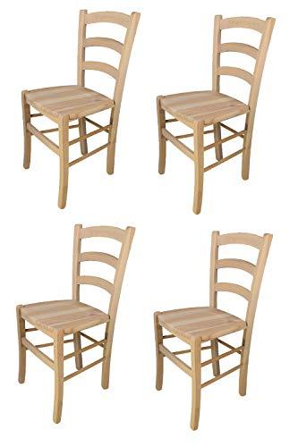Tommychairs - Set 4 sedie modello Venezia per cucina bar e sala da pranzo, robusta struttura in legno di faggio levigato, non trattato, 100% naturale e seduta in legno