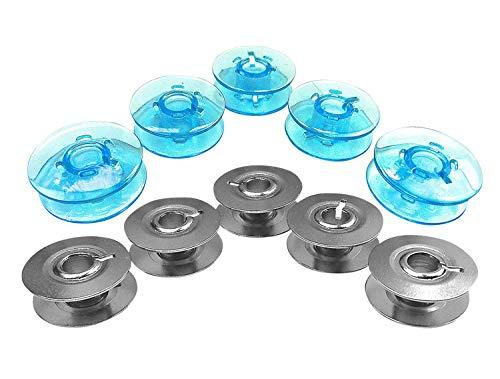 Bobinas azules y de metal para máquinas de coser Pfaff Tipmatic, 10 unidades