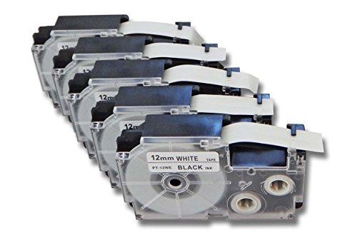 vhbw 5X Casete de Cinta Cartucho 12mm para Casio KL-130, KL-200, KL-2000, KL-200E, KL-7200, KL-7400, KL-G2, KL-HD1 por XR-12WE1, XR-12WE