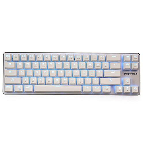 Qisan Gaming Keyboard Mechanical Wired Keyboard Cherry MX Blue Switch Ice Blue Backlight Backlight Keyboard Mini Design (60%) 68-Keys White