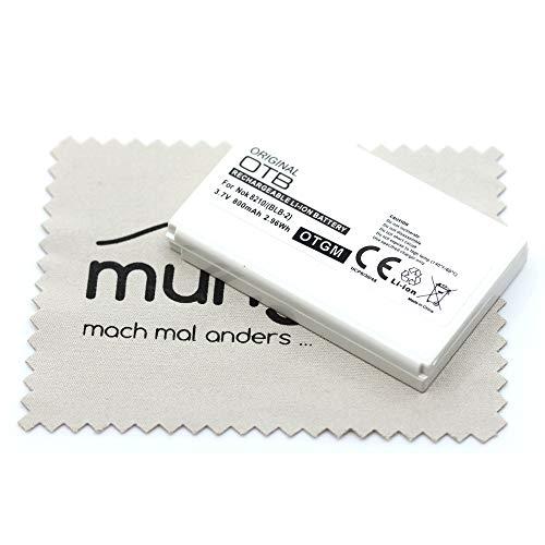 Batteria di ricambio per Nokia 5210 6510 7650 8210 8310 8850 8890 8910 8910i (sostituisce batteria originale BLB-2) OTB con panno per la pulizia del display mungoo