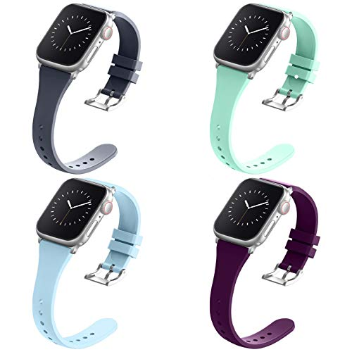 Compatible with Apple Watch Bands 42mm 44mm for Women Men, Adepoy Soft Silicone Narrow Slim Replacement Sport Wristbands for iWatch Series 6 5 4 3 2 1 SE (Large DarkPurple Teal BlueGray LightBlue)