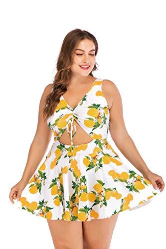 ESPRLIA Women's Plus Size Two Pieces Tankini Bikini Set Swimsuits (Yellow, 2XL)