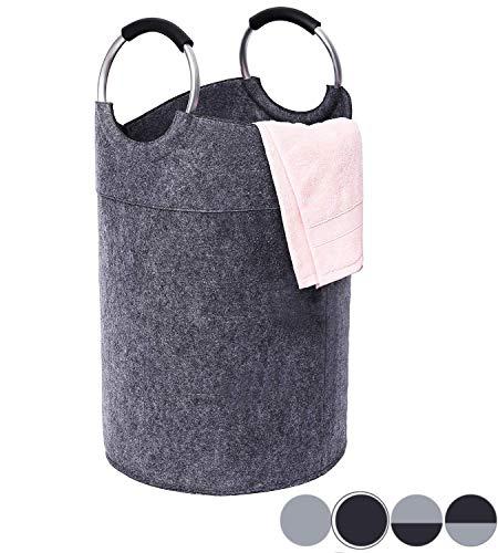 Mangata Wäschekorb kinderzimmer Premium Filz Wäschesammler groß faltbar Korb (Dunkelgrau)
