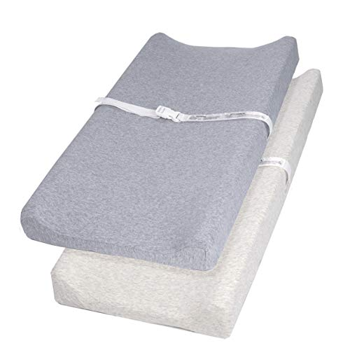 Pro Goleem Changing Pad Cover 100% Jersey Cotton 2 Pack Soft Changing Table Pad Cover for 32x16 Inch Changing Pad Grey for Boys and Girls